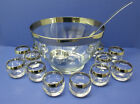 Vintage Dorothy Thorpe Silver Banded Punch Bowl And 12 Roly Poly Glasses Barware