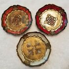 3 Gold cream red Coral Italian Florentine Carved Tole Dresser Pin Coaster Trays