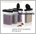 TUPPERWARE New SPICE SHAKER SET 4 Large Shakers with BLACK Seals fREEsHIP