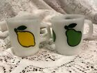 (2) Vtg Anchor Hocking Fire-King White Milk Glass Mugs / Cups, Fruit