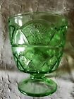 1 Federal Glass Rosemary Green w/Roses Vaseline Glass Open Footed Sugar Bowl