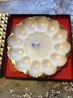 ANCHOR HOCKING FIRE KING MILK GLASS DEVILED EGG 10