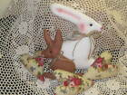 Rabbit Bunny Hearts bowl fillers Country Cottage Centerpiece Handmade Home Decor