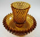 Amber Glass Tea Candle Holder Diamond Point Taper Votive Cup Indiana Vintage