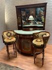 Parlor Set Antique Mahogany Wood 4 Piece - Settee, 1 Armchair And 2 Chairs
