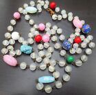 Glass Beads Necklace Multi Color Venetian 50 Strand Sommerso Opalescent Red