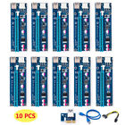 10x USB 30 Pci PCI E Express 1x To 16x Extender Riser Card Adapter Power Cable