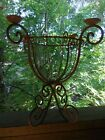 Vintage Wrought Iron Candlestick holder Planter Flower Holder Garden Decor