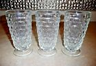 Set of 3 Whitehall Clear Colony Ice Tea Footed Tumbler Glasses Cube Pattern