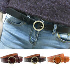 Ladies Vintage Gold Round Buckle Belt Faux Leather Jeans Causal Waistband