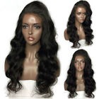 Black Synthetic Lace Front Wig Long Body Wavy Wig Heat Resistant Fiber Baby Hair