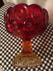 L E Smith Moon and Stars Red Amberina Footed Bowl Compote Glass Candy Dish 6 3/8