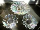 Set of 3 Vintage IRIDESCENT Celestial Federal Glass Shallow Bowls Plates Dishes