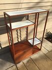 Mid Century Danish Modern Petite WOOD DISPLAY SHELF Shelving Unit Ceramic Tiles