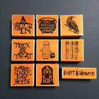Halloween Rubber Stamp Wood Mounted Craft Smart Witch Trick or Treat Boos Potion