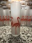 Set of 6 Vintage 13.5 oz Collins Glasses with Pink Flamingos