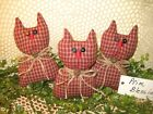 3 Handmade Rustic Red check fabric Cats Bowl Fillers Prim Country Home Decor
