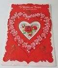 Used Vtg Valentine Glittery Card w Red Roses Cherub Cupid Pink Roses