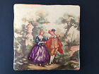 Antique Wall Tile Victorian Garden Courting Scene People Made in Italy