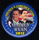 Americas Comeback Team Romney Ryan 2012 Political Pinback Button N68