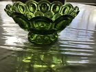 LE Smith  Large Green  Moon and Stars Glass Footed Bowl. Just Gorgeous