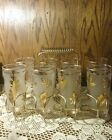 8 Vintage Libby frosted Glasses w/ Gold Leaves in original Caddy