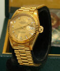 ROLEX 18K GOLD AUTOMATIC DATEJUST PRESIDENT WATCH DIAMOND DIAL 6917 BOX