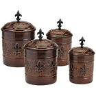 Rustic Style Kitchen Canister Set Storage Coffee Sugar Flour Antique Copper Jar