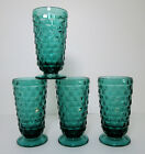 4 Indiana American Whitehall Footed Tumblers Teal Blue Iced Tea Vintage Colony