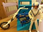 Evel Knievel 70s Stunt Cycle Ideal Chopper  Rare Blue Launcher Evil Doll Set NR