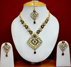 Gorgeous Pearl Indian Jewelry Gold Neecklace Earring Sets f39n34