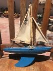 Vintage Star Yacht SY1 Blue Sailboat Birkenhead Made In England Wooden Pond Boat