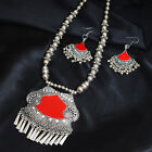 Oxidised SilverTone Necklace Set Indian Traditional Pendent Woman Tribal Jewelry