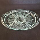 Jeanette Glass Vintage Feather Pattern Five Part Heavy Tray With Handles