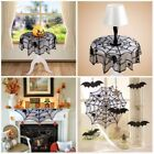 Halloween Lace Spider Round Web Tablecloth Fireplace Table Decor Polyester Black