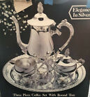 Elegance in Silver Three Piece Coffee Set with Round Tray
