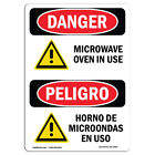 OSHA Danger Sign Microwave Oven In Use  Heavy Duty Sign or Label