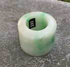 ANTIQUE CARVED WHITE AND GREEN JADE JADEITE ARCHERS THUMB RING