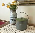 Antique Tin Berry Pail or Lunch Bucket With Lid