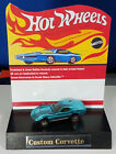 Restored Hot Wheels Redline 1968 Custom Corvette Aqua Car and Display