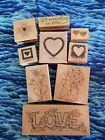 Heart wooden rubber stamps lot of 8