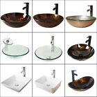 Vessel Sink Bowl Bathroom Tempered Glass Faucet Pop up Drain Bath Basin Combo