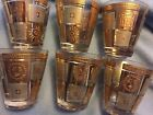 6 Vintage Georges Briard,  Mid Century Modern Cocktail glasses Gold Suns Squares