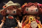 PriMiTiVe FoLk ArT DoLLS~Raggedy ANne~Scarecrow Pair By Yankee Country Crafts