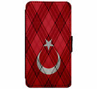 Turkish Flag Tartan Triangles design Leather Flip Phone Case Cover Wallet D19