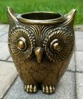 Mid Century Modern brass Owl vase planter Hollywood Regency Style vintage