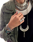 Bohemian Sillver Coin Chunky Chain Bracelet Wide Coin Costume Boho Jewelry