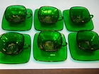 VTG. Set of 6 ANCHOR HOCKING FOREST GREEN 'CHARM' Square Glass Ware