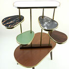 Vintage Indoor Plant Stand Table Shelf White Gold Brown 1950s Mid-Century Modern