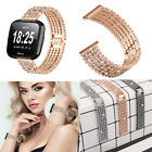 Stainless Steel Bling Band Strap for Fitbit Versa Smartwatch with Rhinestone RR